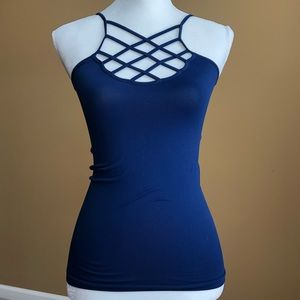 Tops - Boutique bought blue cross front tank